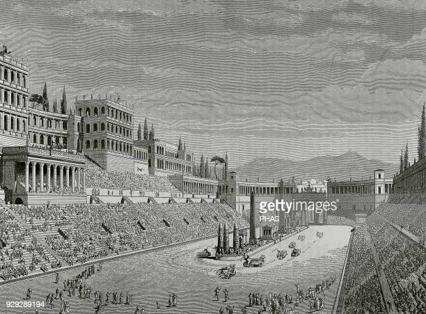 Roman Empire Rome Circus Maximus between the Aventine and Palatine hills Engraving
