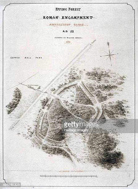 Roman encampment in Epping Forest Essex 1876 Map of a Roman encampment dating from 52 AD at Ambresbury Banks in Epping Forest