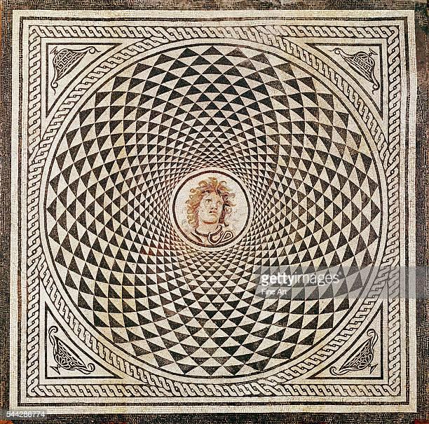 Roman floor mosaic with the head of Medusa c 115150 stone tesserae made in Rome 2705 x 2705 cm The J Paul Getty Museum Malibu California