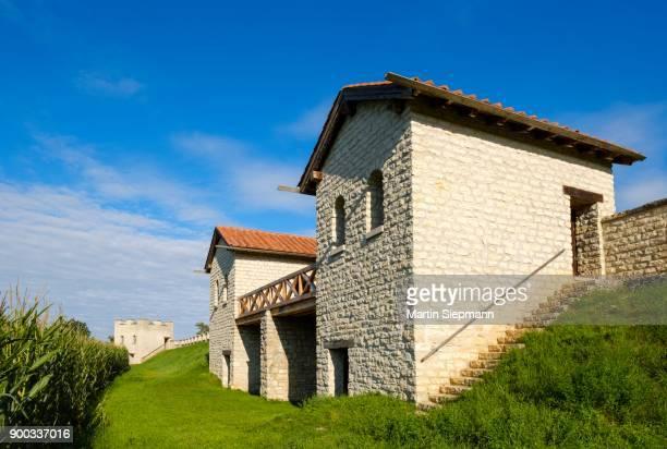 Roman fortress Pfuenz, Castra Vetoniana, Rhaetian Limes, near Walting, Eichstaett, Altmuehltal, Upper Bavaria, Bavaria, Germany