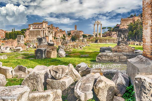 roman forum against sky - decline stock pictures, royalty-free photos & images