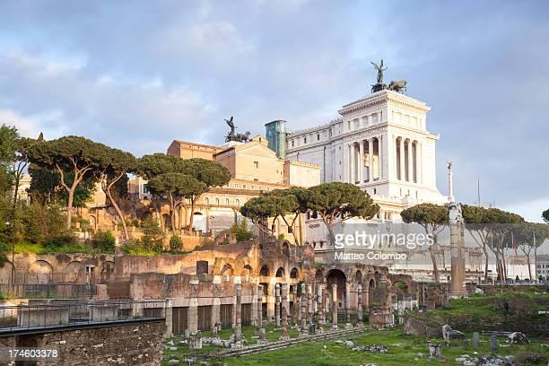 Roman forum and Vittoriano monument in Rome Italy
