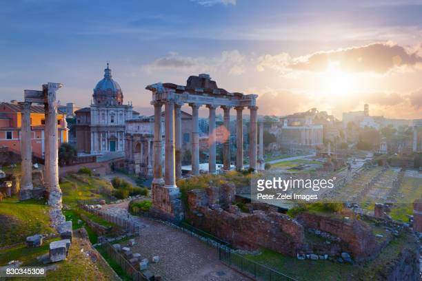 roman forum at sunrise - rome italy stock pictures, royalty-free photos & images