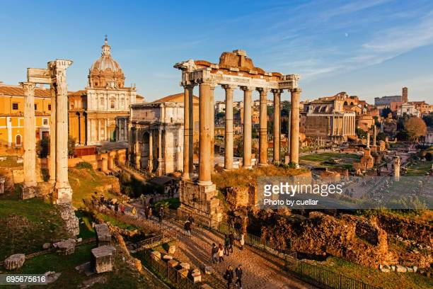 roman forum at sunset - roman forum stock pictures, royalty-free photos & images
