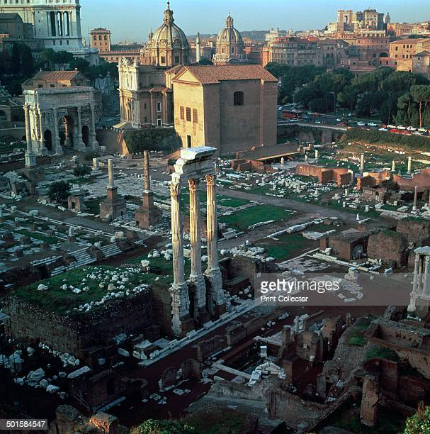 Roman forum seen from the Palatine hill in the evening The columns of the Temple of Castor in the centre and the Curia beyond them can be seen 5th...