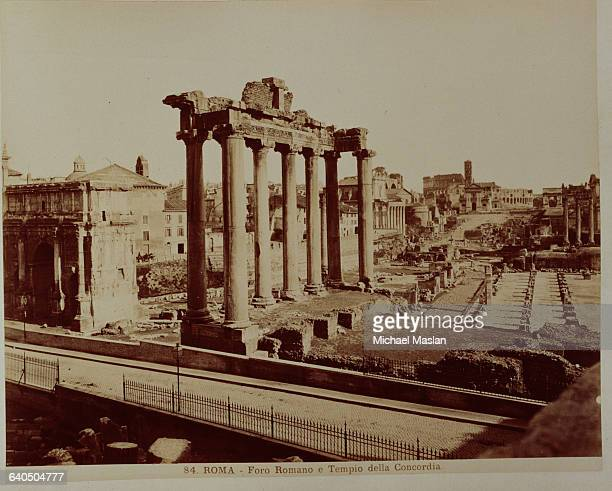 A Roman Forum which originally functioned as a meeting and marketplace and the Temple of Concordia Rome 1880s1890s