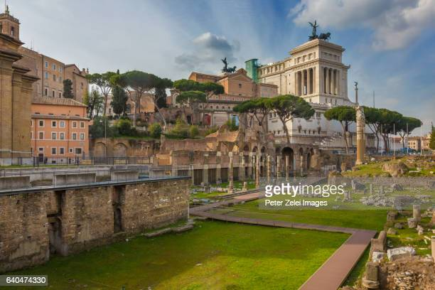 Roman Forum with the Altare Della Patria (National Monument to Victor Emmanuel II) in the background, Rome, Italy