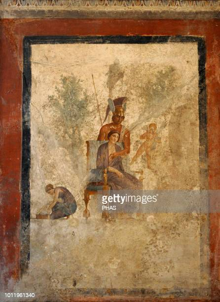 Roman fresco depicting a scene of seduction between Mars and Venus in the presence of a cupids and a maid. First imperial era. House of Love...