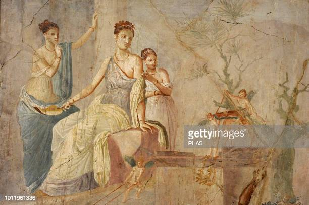 Roman fresco depicting Heracle and Omphale. Detail. 1-79 AD. Third Pompeian Style. Pompeii. National Archaeological Museum, Naples, Italy.