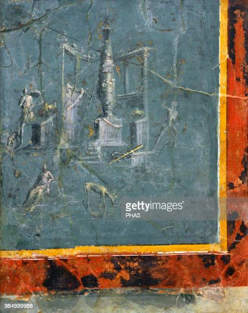 Roman fresco depicting the myth of Diana and Actaeon Late Second Style 1st century BC From a villa in the area of the Royal Palace of Portici...