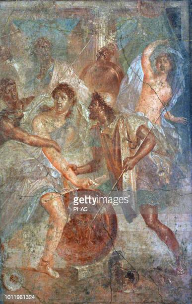 Roman fresco depicting Ulysses unmasks Achilles dressed as a woman in Sciro Tablinium House of the Dioscuri Pompeii National Archaeological Museum...