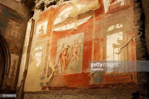 roman fresco in herculaneum - pompeii stock photos and pictures