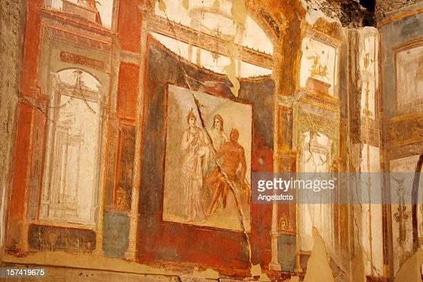 ローマのフレスコ画ヘルクラネウム遺跡 - ヘルクラネウム遺跡 ストックフォトと画像
