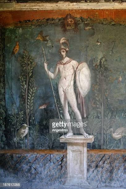 roman fresco in pompeii - mars roman god stock photos and pictures