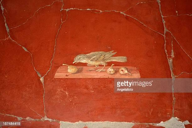ローマ oplontis ヴィラのフレスコ画 - ヘルクラネウム遺跡 ストックフォトと画像