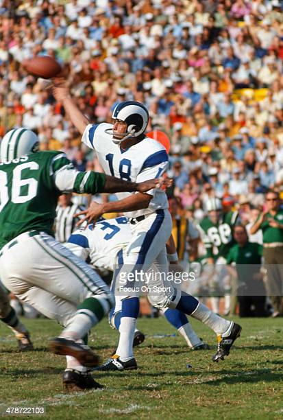 Roman Gabriel of the Los Angeles Rams throws a pass against the New York Jets during an NFL football game November 15 1970 at The Los Angeles...