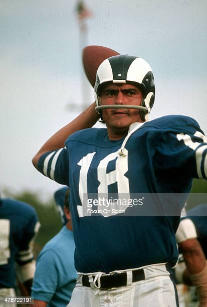 Roman Gabriel of the Los Angeles Rams warms up during an NFL football game circa 1969 Gabriel played for the Rams from 196272