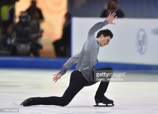 Roman Galay of Finland performs in the men's short programme event of the ISU European Figure Skating Championships at the Steiermark hall in Graz...