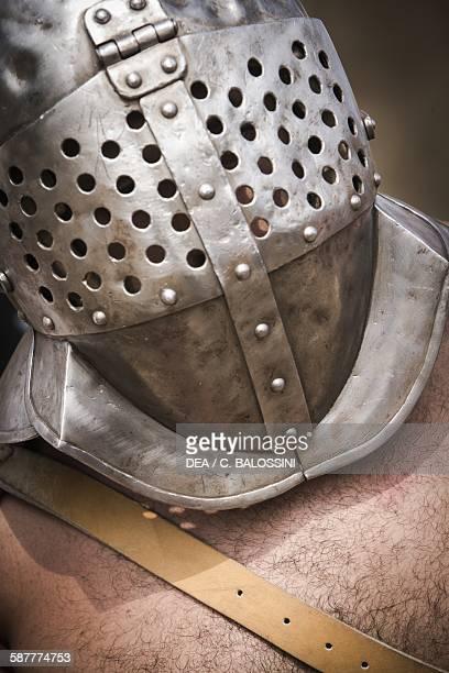 Roman gladiator detail of the helmet Historical reenactment