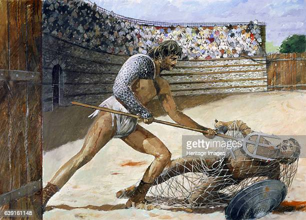 Roman Gladiators, c3rd century, . Reconstruction drawing of Gladiators in Silchester Roman City Walls and Amphitheatre, Hampshire. Silchester was...