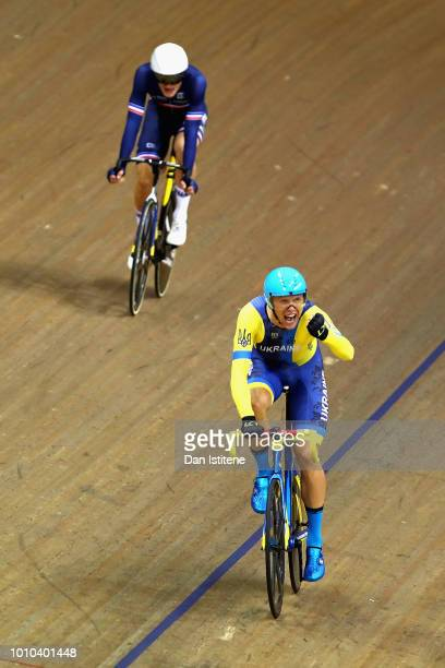 Roman Gladysh of Ukraine celebrates winning gold in the Mens 15km Scratch Race during the track cycling on Day Two of the European Championships...