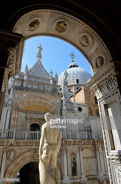 roman god mars statue, doges palace, venice - mars roman god stock photos and pictures