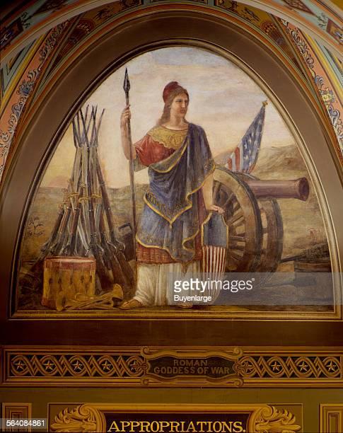 Roman Goddess of War art on the walls of the US Capitol Washington DC