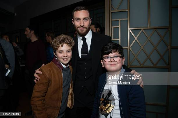 Roman Griffin Davis, Aaron Taylor-Johnson and Archie Yates attend the after party for the special screening of Momentum Pictures' 'A Million Little...
