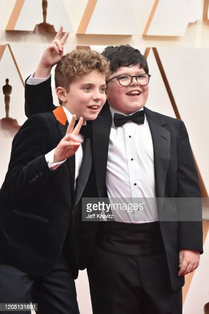 Roman Griffin Davis and Archie Yates attend the 92nd Annual Academy Awards at Hollywood and Highland on February 09 2020 in Hollywood California