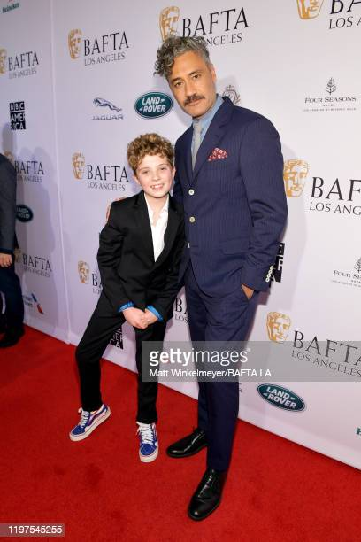 Roman Griffin Davis and Taika Waititi attend The BAFTA Los Angeles Tea Party at Four Seasons Hotel Los Angeles at Beverly Hills on January 04 2020 in...