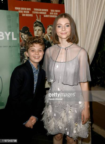Roman Griffin Davis and Thomasin McKenzie attend the 20th Annual AFI Awards at Four Seasons Hotel Los Angeles at Beverly Hills on January 03 2020 in...