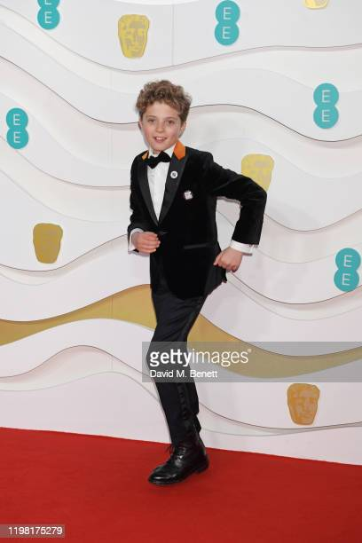 Roman Griffin Davis arrives at the EE British Academy Film Awards 2020 at Royal Albert Hall on February 2 2020 in London England
