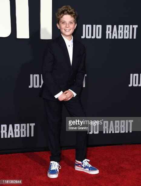 Roman Griffin Davis arrives at the Premiere Of Fox Searchlights' Jojo Rabbit at Post 43 on October 15 2019 in Los Angeles California