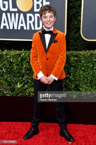 Roman Griffin Davis attends the 77th Annual Golden Globe Awards at The Beverly Hilton Hotel on January 05 2020 in Beverly Hills California
