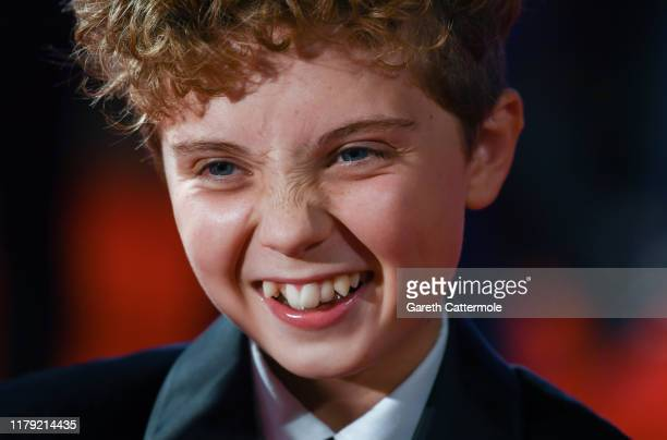 Roman Griffin Davis attends the JoJo Rabbit European Premiere during the 63rd BFI London Film Festival at Odeon Luxe Leicester Square on October 05...