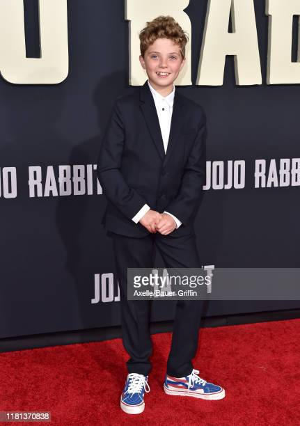 Roman Griffin Davis attends the Premiere of Fox Searchlights' Jojo Rabbit at Post 43 on October 15 2019 in Los Angeles California