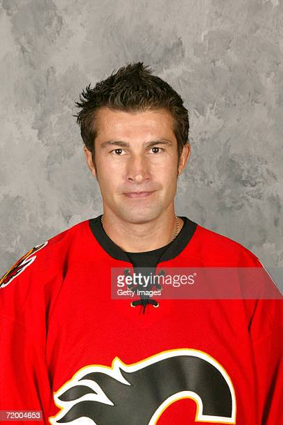 Roman Hamrlik of the Calgary Flames poses for portrait at the Pengrowth Saddledome in Calgary Alberta Canada