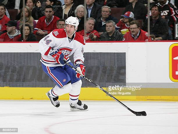 Roman Hamrlik of the Montreal Canadiens skates against the Ottawa Senators at Scotiabank Place on March 19 2009 in Ottawa Ontario Canada