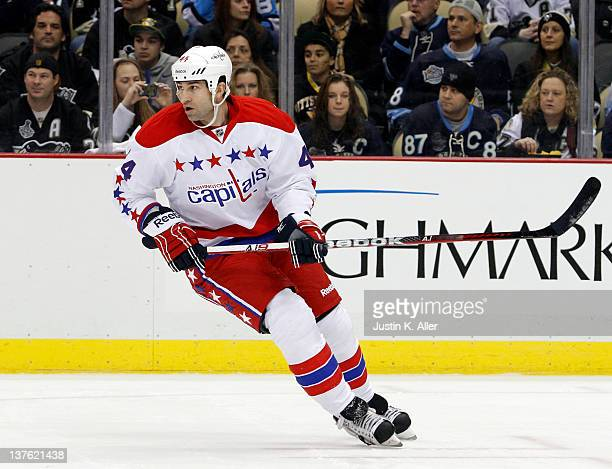 Roman Hamrlik of the Washington Capitals skates against the Pittsburgh Penguins during the game at Consol Energy Center on January 22 2012 in...