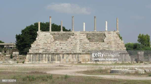 roman hippodrome restored seats in tyre, lebanon - argenberg stock pictures, royalty-free photos & images