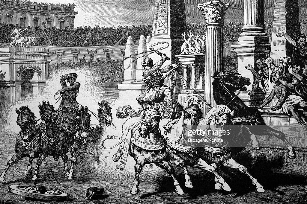 Roman history, chariot racing in the circus maximus in ...