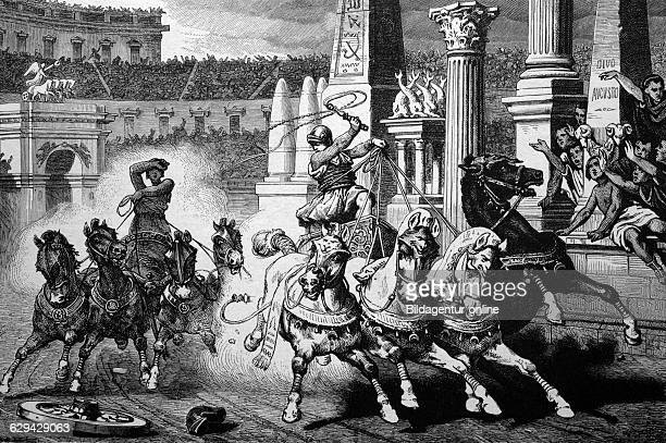 Roman history chariot racing in the circus maximus in rome italy historical illlustration about 1886