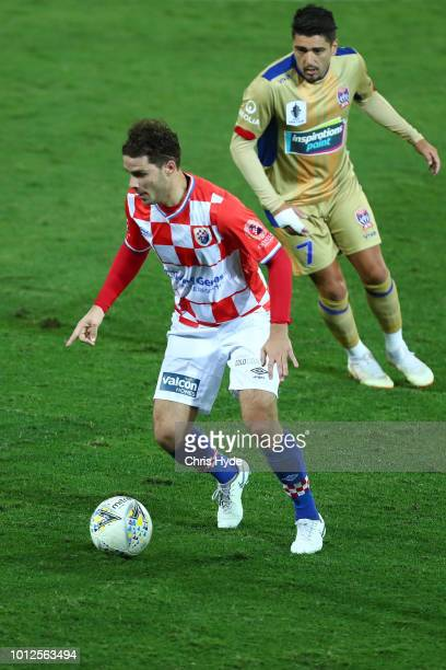 Roman Hofmann of the Knights controls the ball during the FFA Cup round of 32 match between Gold Coast Knights and Newcastle Jets at Cbus Stadium on...