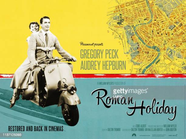 Roman Holiday, poster, British re-release poster art, from left: Audrey Hepburn, Gregory Peck, 1953.
