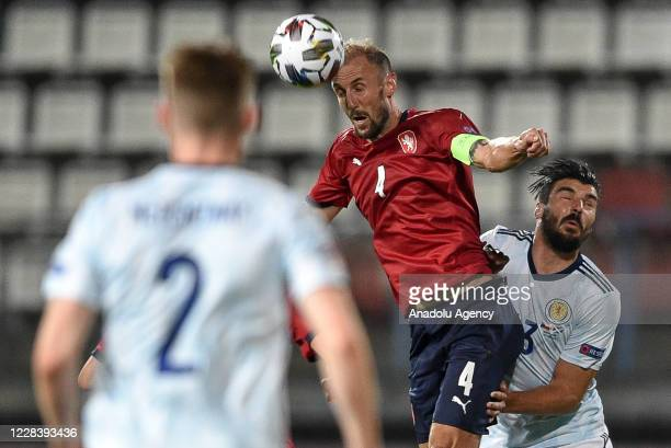 Roman Hubnik of Czech Republic in action against Callum Paterson of Scotland during the UEFA Nations League soccer match between Czech Republic and...