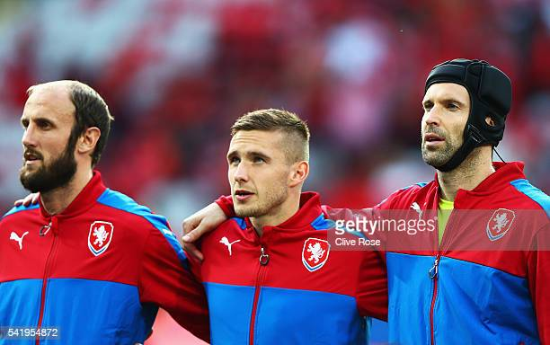 Roman HubnikTomas SivokPetr Cech of Czech Republic during the line up prior to the UEFA EURO 2016 Group D match between Czech Republic and Turkey at...