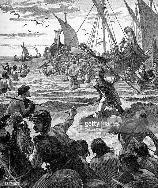 Roman invasion of Britain early 20th century illustration Landing on the coast of Kent Invasion commanded by Julius Caesar in 55 BC considered to be...