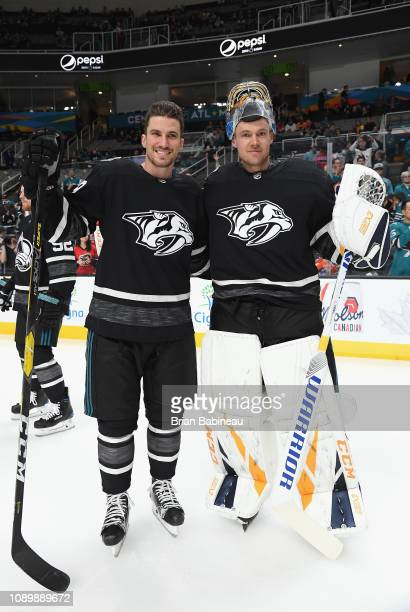 Roman Josi and Pekka Rinne of the Nashville Predators look on during warmup prior to the 2019 Honda NHL AllStar Game at SAP Center on January 26 2019...
