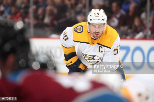 Roman Josi of the Nashville Predators awaits a faceoff against the Colorado Avalanche in Game Three of the Western Conference First Round during the...