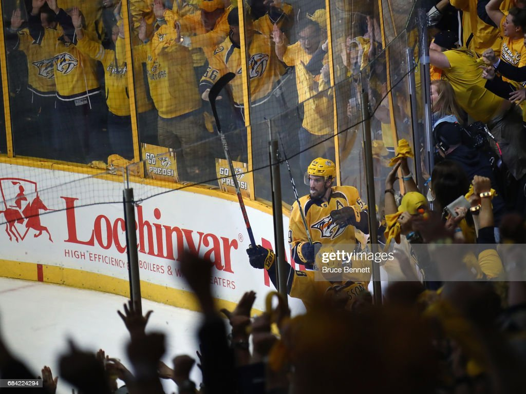 Roman Josi #59 of the Nashville Predators celebrates his game winning goal against the Anaheim Ducks in Game Three of the Western Conference Final during the 2017 NHL Stanley Cup Playoffs at the Bridgestone Arena on May 16, 2017 in Nashville, Tennessee. The Predators defeated the Ducks 2-1.